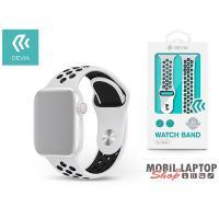 Devia ST325021 Apple Watch fehér/fekete szilikon sport óraszíj