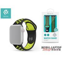 Devia ST325038 Apple Watch fekete/sárga szilikon sport óraszíj