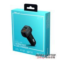 Trust Qmax Ultra-Fast Dual USB QC3 autós töltő okostelefonokhoz és tabletekhez 2 USB port 30W fekete