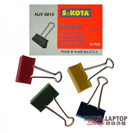 Sakota 51mm 12db/csomag színes iratcsipesz